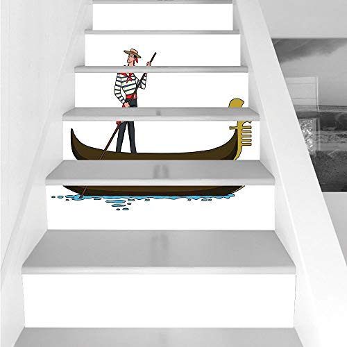 Stair Stickers Wall Stickers,6 PCS Self-Adhesive,Cartoon,Illustration of Gondola in Romance City Venice European Symbol of Love Italian Decor,Brown White,Stair Riser Decal for Living Room, Hall, -