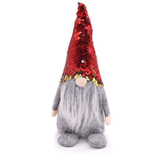 FUTUREPLUSX Swedish Santa Gnome Plush, 1PCS Double Sequins Scandinavian Tomte Santa Scandinavian Gnome Plush for Christmas Santa Decoration Table Decor
