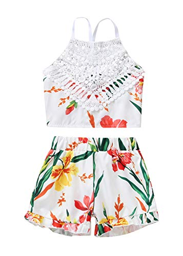 VISGOGO Toddler Baby Girls Outfits Clothes Set Halter Crop Tops + Flamingo Short Pants (3T, O) -