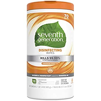 Seventh Generation Disinfecting Multi-Surface Wipes, Lemongrass Citrus, 70 Count, Pack of 3 (Packaging May Vary)