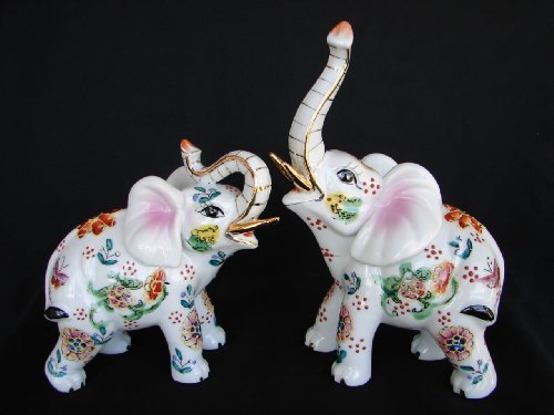 2 Pcs of 8.5 Porcelain White Elephant Statues