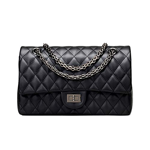 Branded Classic Medium Black Quilted Soft Leather Shoulder Crossbody Handbag for Woman