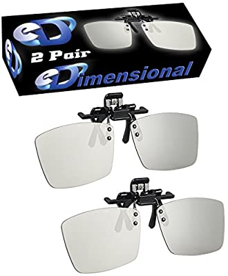 ED 2 Pack CINEMA Clip-On 3D GLASSES For LG 3D TVs - Adult Sized Passive Circular Polarized 3D Glasses