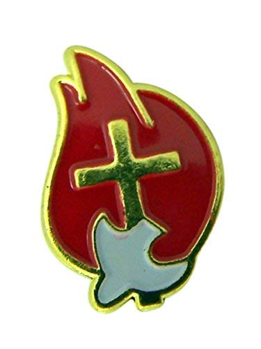 Holy Spirit and Cross Red Enamel Confirmation Lapel Pin with Bookmark Gift Set, 3/4 Inch