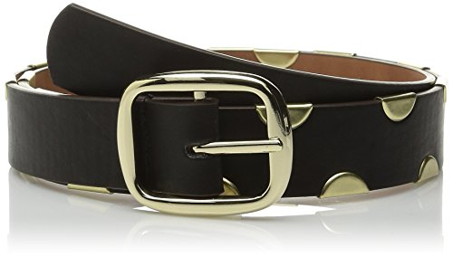 Steve Madden Women's Half Moon Reversible Pant Belt, Black/Cognac, Large (Half Moon Buckle Belt)