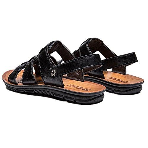 Plano Ocio Moda Holiday Sandalias Beach Verano Comfort Negro Shoes Ligero Zapatos CUSTOME Cuero Hombre xCw0q8WZt