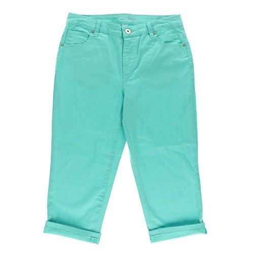 Style & co. Women's Petite Tummy Control Cuffed Capri Jeans (14 Petite, Pacific Aqua)