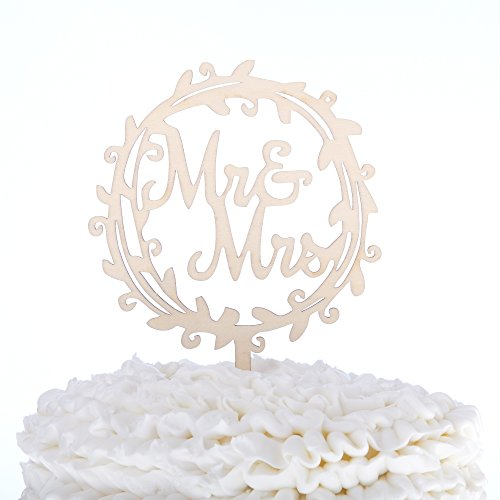 Mr-Mrs-Wooden-Wedding-Cake-Topper-Small-45-Inches-Rustic-Wood-Floral-Wreath-Flowers-Mr-Mrs-Wreath
