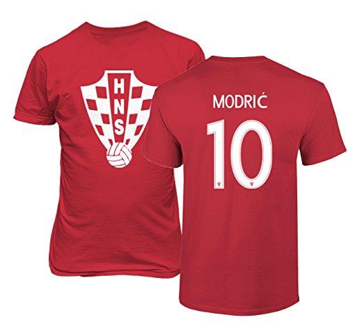 Tcamp Croatia 2018 National Soccer #10 Luka MODRIC World Championship Men's T-Shirt (Red, Adult Large)