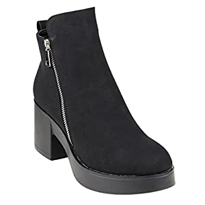Beston EJ44 Women's Side Zipper Platform Ankle High Top Booties Run Large, Color Black, Size:9