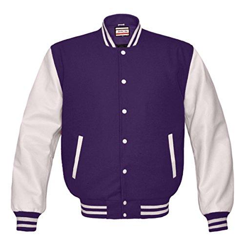 Orginal American Style Varsity Leather Biker Letterman College Men Wool Jackets,Purple-white Stripe,Small