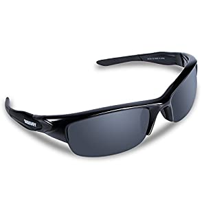 SEEKWAY Polarized Outdoor Half-frame Sports Sunglasses For Cycling Driving Fishing Golf Baseball SWC089 (black&black, polarized lens)