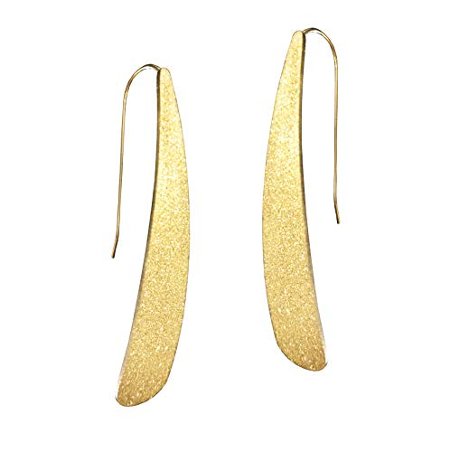 Altitude Boutique Stardust Curved Flat Bar Dangles - Metallic Long Linear Tear-Drop Polished Threader Earrings -