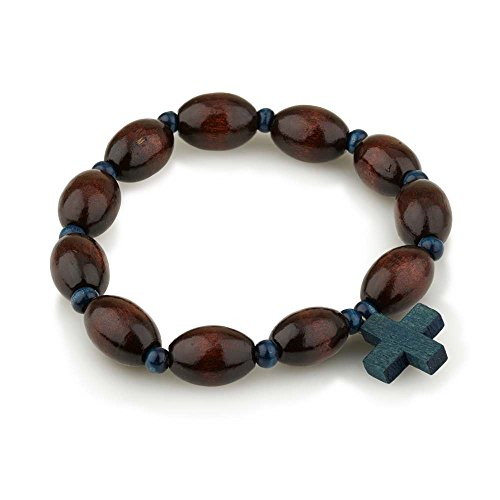 Marina Meiri Genuine Wood Polished 10mm Bead Rosary Bracelet with Blue Wooden Cross Pendant