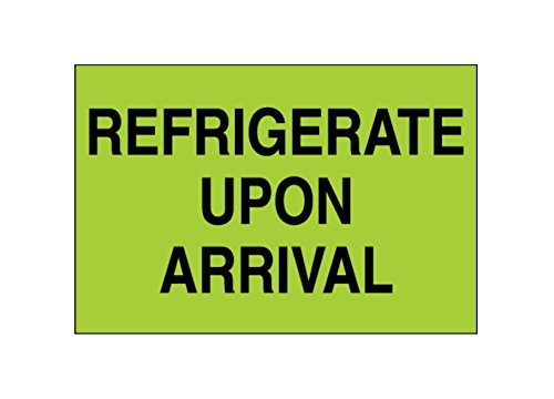 4.75 Length Labels 2 Width 2 Height RetailSource DL1327x1 2 x 3 Pack of 500 Refrigerate Upon Arrival, Fluorescent Green