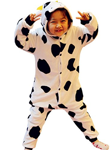 [Kids Animal Onesie Pajamas Costume for Halloween Footie Sleepsuit Cow XL] (Cute Couples Halloween Outfits)