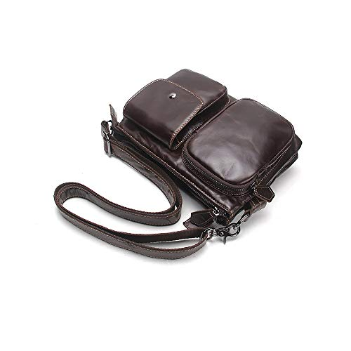 Men's Shoulder Body Lzha Coffee Travel Women's Genuine Messenger Leather Cross Bag Real YpdZXqd