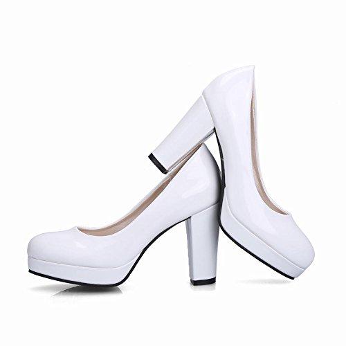 Carolbar Scarpa Donna A Color Con Da Bianco Tacco Vernice In Alto qRCr6T4nqw