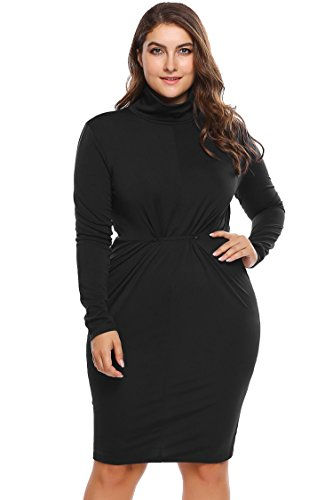 INVOLAND Womens Plus Size Dresses High Neck Ruched Slinky Knee Length Knot Front Midi Bodycon Dress For Autumu Winter 16W-24W
