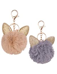 """Fluffy 2 Pack Keychain Puff Ball Pom Pom Style with Golden Ears Faux Fur Fashion Accessories and Decoration Smooth and Comfy for Bag Purse Keys Accessory Gift; with Ring and Trigger Clip; Large Ball 3""""; Colors Gray and Brown - by Table Blonche Accessories"""