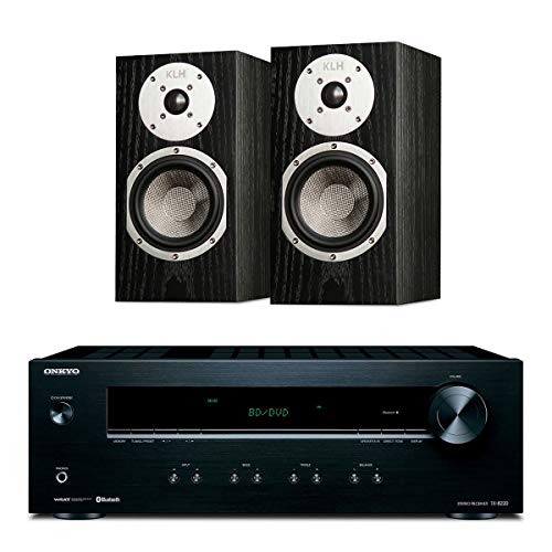 Onkyo TX-8220 Stereo Receiver with Built-in Bluetooth and KLH Albany Bookshelf Speakers - Pair (Black)
