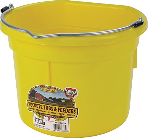 - LITTLE GIANT Flat-Back Dura-Flex Plastic Bucket, 8-Quart, Yellow