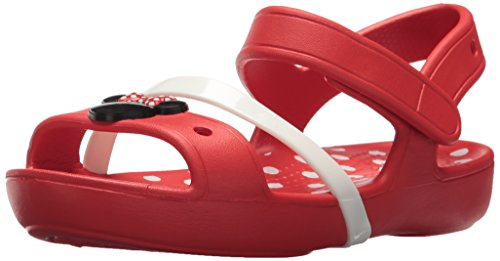 Crocs Girls' Lina Minnie Sandal K Flat, Flame, 8 M US Toddler]()