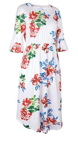 Jaycargogo Des Femmes De Manches À Volants Casual Floral Poches D'impression Patineur Blanc Robe Midi Ligne