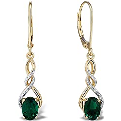 Created Emerald Earrings Diamond Accents in 10k Yellow Gold and White Rhodium Plated Accents