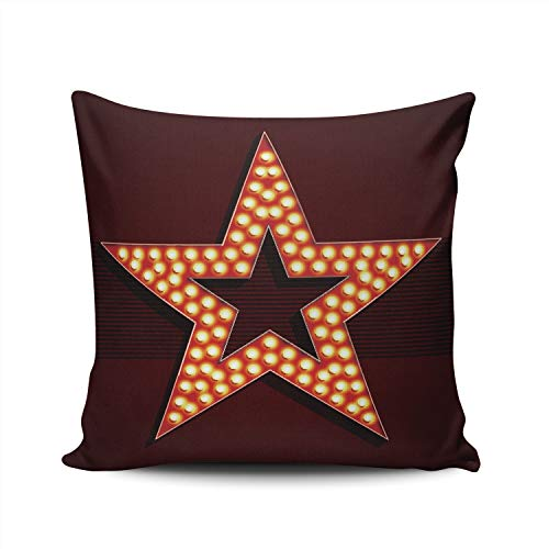 (MUKPU Pillow Covers Broadway Style Light Bulb Star Shape Throw Pillow Case Hidden Zipper Decorative Custom Pillow Cases Double Sides Printed Square 18x18)