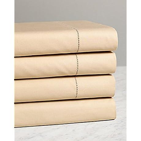 Sferra Elyse Fawn Tan King Sheet Set 4PC 100 Egyptian Cotton Sateen Hemstitch Italy