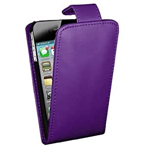 New Purple PU Leather Flip case for iPhone 4s - FREE Standard Stylus by ruishername