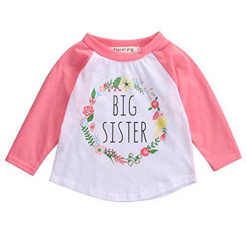 Little Girls Baby Girls Long Sleeve Big Sister Lovely Slogan Print Simple Casual T-Shirt (4-5Y, Pink)