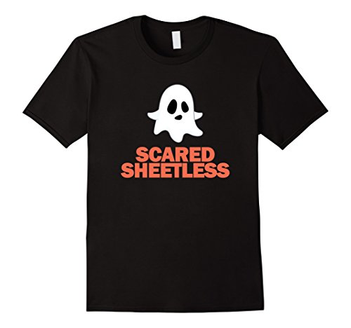 Mens Funny Halloween Ghost T-Shirt - Ghosts Scared Sheetless Puns Small Black