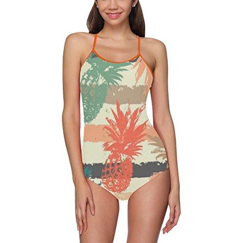 (INTERESTPRINT Watercolor Pineapple Strie One Piece Swimsuit Swimwear Bathing Suit for Women Juniors XS)