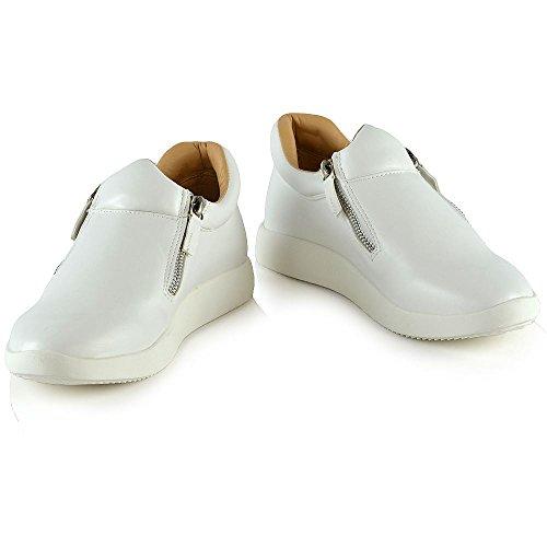 Essex Glam Damesmode Sneakers Dames Casual Platte Zip Trainers Schoenen Wit Synthetisch Leer