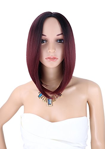 [Kalyss Women's Wig Short Bob Dark Root Wig Women's Fashion Top Quality Heat Resistant Synthetic Ombre Black to Wine Red Hair Wigs for] (Cheap Color Wigs)