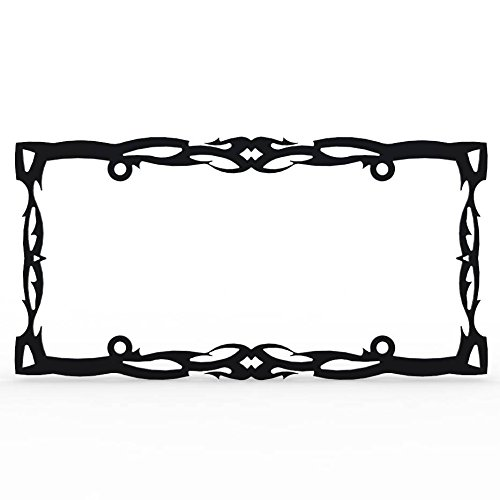 - Ferreus Industries Black Powdercoat Car Truck License Plate Frame Tattoo Tribal Tribal - 1 Piece LIC-102-Black