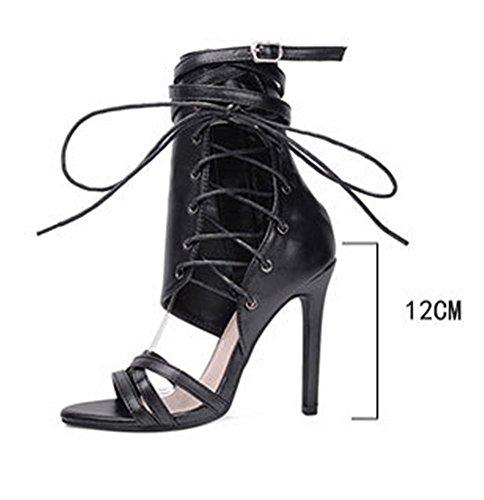 Femme 43EU Sexy Talons 35EU Hauts Été Botte Chaussures Club Bandage Escarpins YOGLY Talon Noir Soiree à 6dwq1g6