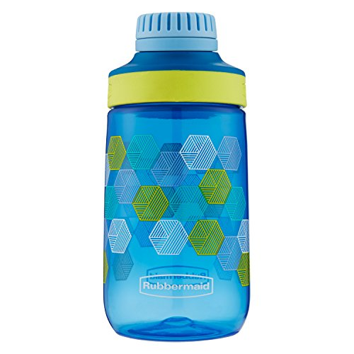 - Rubbermaid Leak-Proof Chug Kids Water Bottle, 14 oz, Varsity Blue with Folded Hexagons Graphic