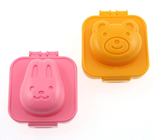Egg Mold - 2 Pcs Set Plastic Rabbit And Bear Egg Mold Rice Mould Gadgets - Dino Oven Square Mini Bomb Rack Boiled Kit Bpa Cooker