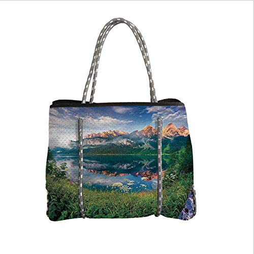 - Neoprene Multipurpose Beach Bag Tote Bags,Apartment Decor,Sunny Summer Morning on The Lake Austrian Alps Crystal Mirroring Water Fairy Season Photo,Multi,Women Casual Handbag Tote Bags