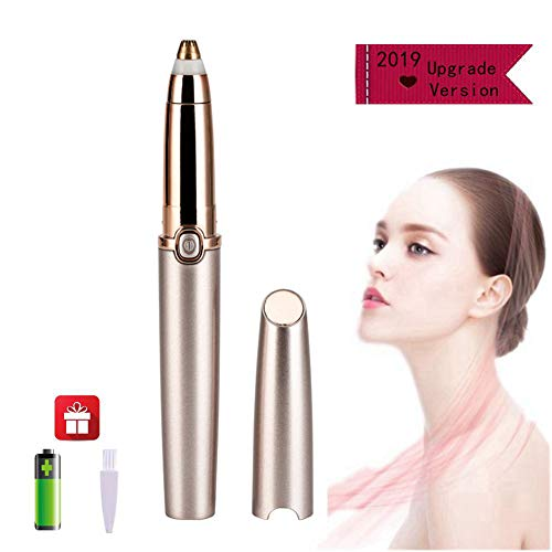 Eyebrow Hair Removal for Women, Upgrade Painless Electric Eyebrow Trimmer, Portable Eyebrow Razor Epilator with Light (Battery Included), Rose Gold