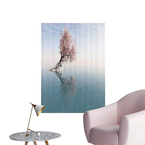 Wall Stickers for Living Room Flower Tree in The Middle of Lake with Reflecti in The Water Magical Vinyl Wall Stickers Print,28