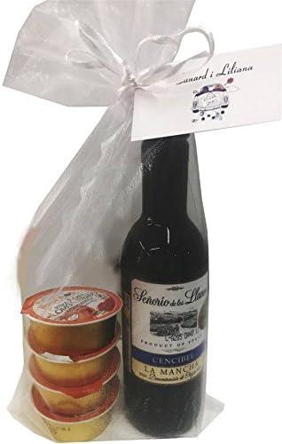 Detalle de vino Señorío de los Llanos D.O. con 4 monodosis de patés en bolsa de organza para invitados (Pack 24 ud): Amazon.es: Hogar