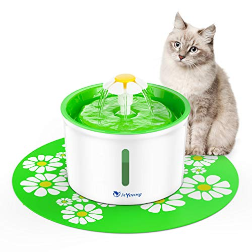 (isYoung Cat Fountain 1.6L Automatic Pet Water Fountain Pet Water Dispenser, Dog/Cat Health Caring Fountain and Hygienic Dog Fountain (Green))