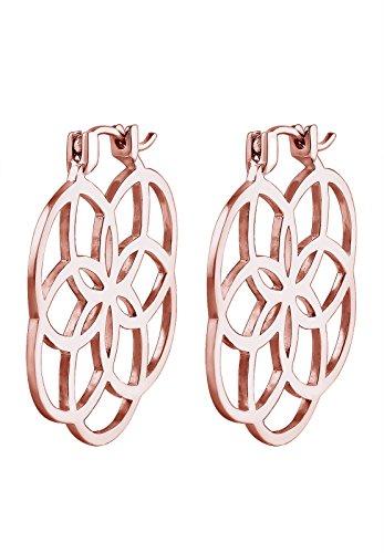 Elli - Boucles d'oreilles - Créoles Fleur de Vie Plaqué Or Rose - Argent 925/1000 - 302490216