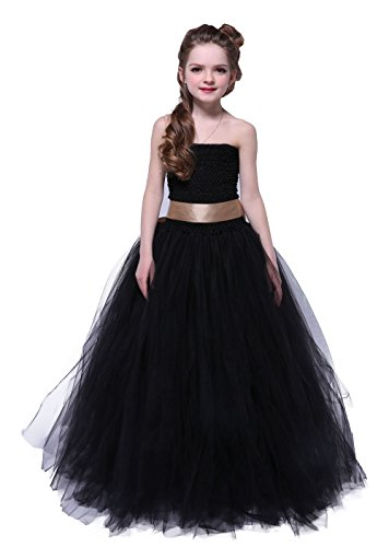 Tutu Dreams Flower Girl Dresses for Wedding Black (8, Black-golden) (Costumes With A Black Dress)