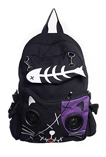 Banned Kitty Speaker Backpack – Black Purple One Size
