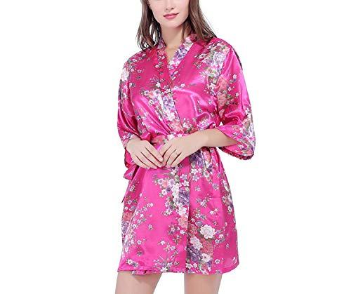 Silk Satin Bride Robe Bathrobe Short Kimono Robe Night Robe Bath Robe Dressing Gown,As The Photo show6,XL]()